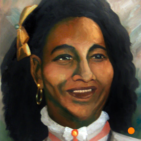photo of woman with bow in hair oil painting