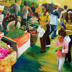photo of people at farmers market painting