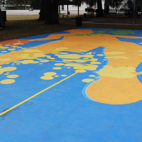 photo of Adrenaline basketball court mural