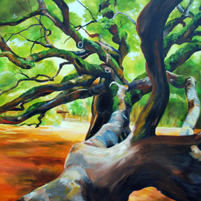 photo of angel oak tree painting