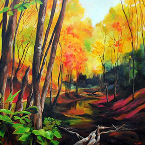 photo of autumn forest acrylic painting