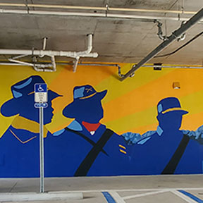 photo of black union soldiers parking garage mural