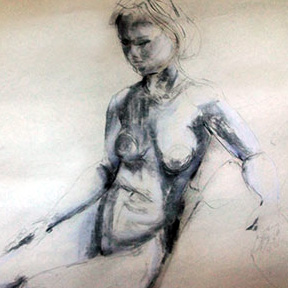 photo of nude model charcoal drawing