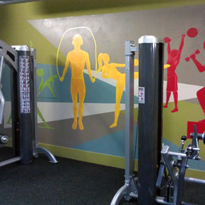photo of athletes fitness center mural