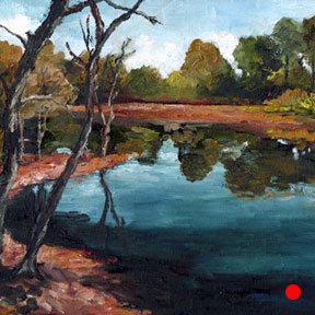 photo of Arboretum pond oil painting