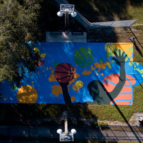 photo of Titan basketball court mural